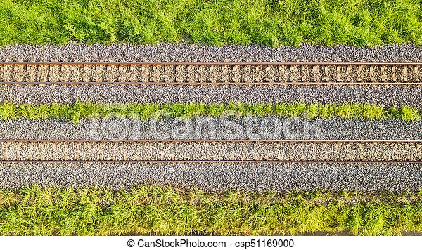 An aerial view of Railroad tracks - csp51169000