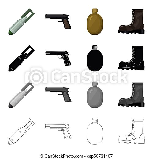 An Air Bomb A Pistol A Soldiers Flask An Army Boot The Military