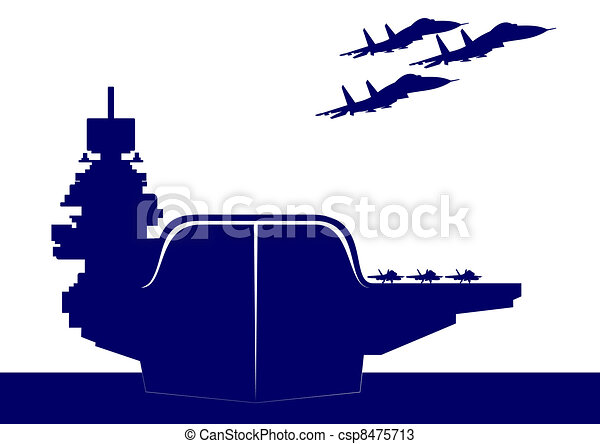 the plane takes off from the deck of an aircraft carrier vectors rh canstockphoto com  us aircraft carrier clipart