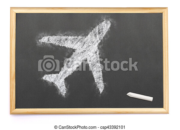 an airplane drawn on a blackboard with chalk.(series) - csp43392101