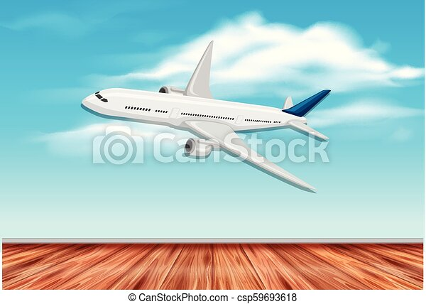 An airplane flying on sky - csp59693618