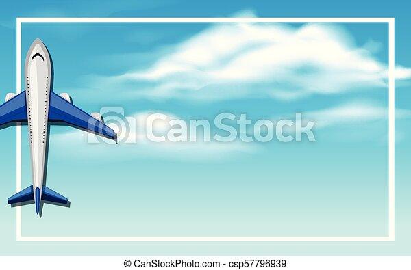 An Airplane on Sky Frame - csp57796939