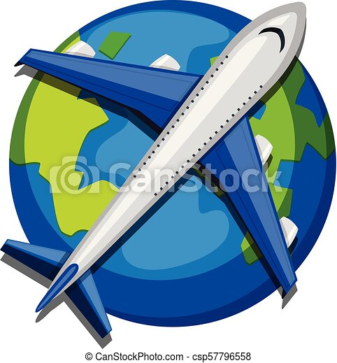An Airplane over the Globe on White Background - csp57796558