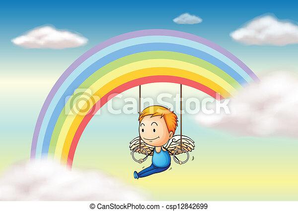 An angel near the rainbow - csp12842699