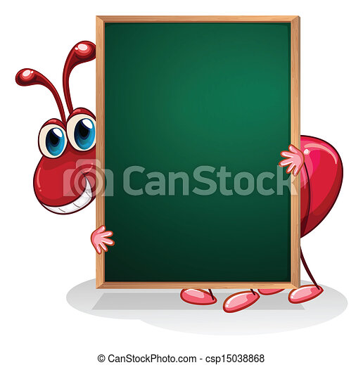 An ant holding an empty board  - csp15038868