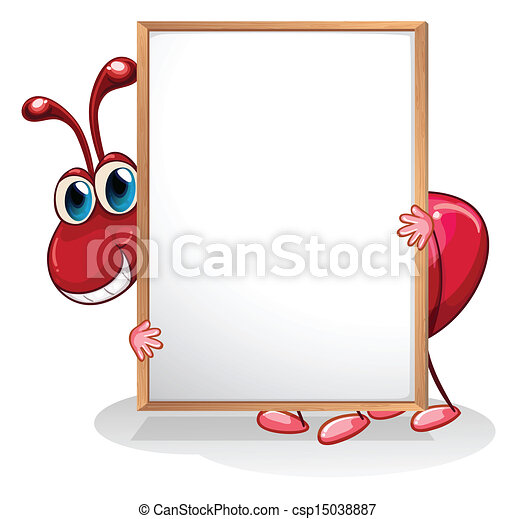 An ant holding an empty whiteboard - csp15038887
