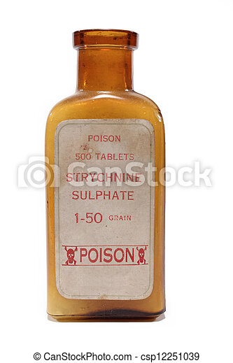 An antique amber bottle of Strychnine poison on white background. - csp12251039