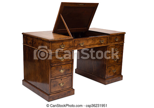 An Antique Wooden Pedestal Desk with Compartment Top - csp36231951 - An Antique Wooden Pedestal Desk With Compartment Top. An Antique