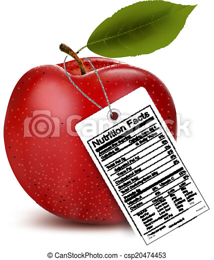 An apple with a nutrition facts label. Vector - csp20474453