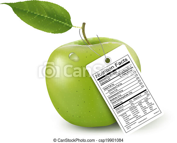 An apple with a nutrition facts label. Vector. - csp19901084