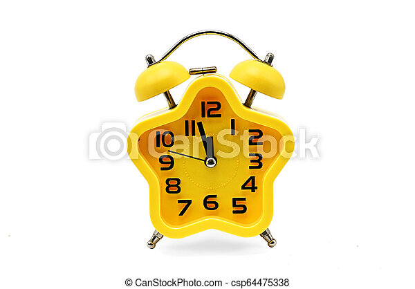 An asterisk Christmas clock showing residual time until midnight on a white background. Yellow. Twelve o'clock - csp64475338