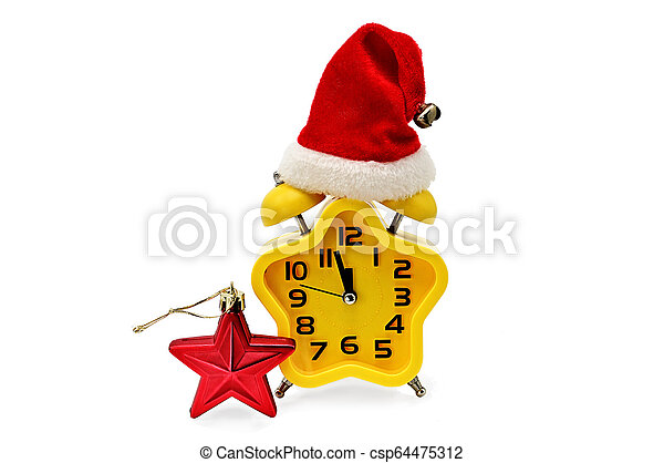 An asterisk Christmas clock shows the remaining time until midnight with a Santa Claus hat and a red asterisk, on an white background. Yellow.12,Twelve o'clock - csp64475312