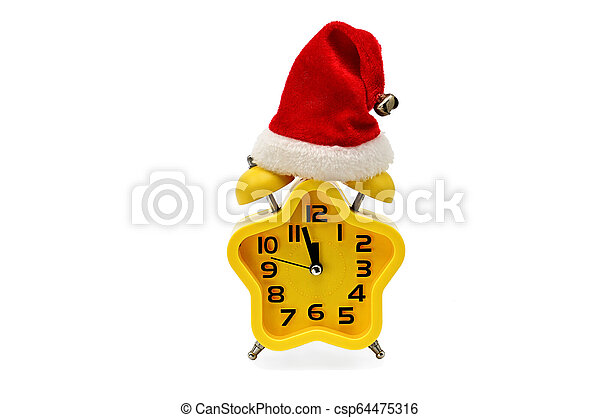 An asterisk Christmas clock shows the remaining time until midnight with a Santa Claus hat, on an white background. Yellow.12,Twelve o'clock - csp64475316