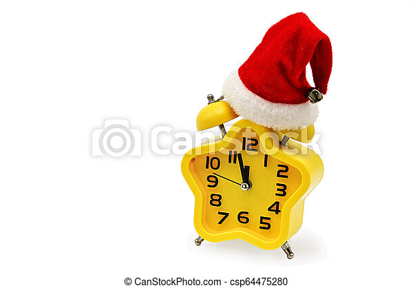 An asterisk Christmas clock shows the remaining time until midnight with a Santa Claus hat, on an white background. Yellow.12,Twelve o'clock - csp64475280