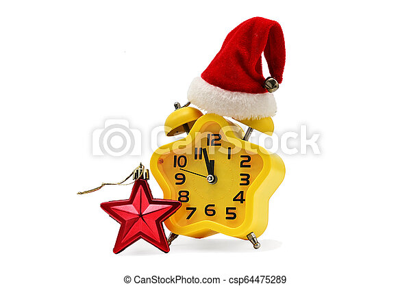 An asterisk Christmas clock shows the remaining time until midnight with a Santa Claus hat and a red asterisk, on an white background. Yellow.12,Twelve o'clock - csp64475289