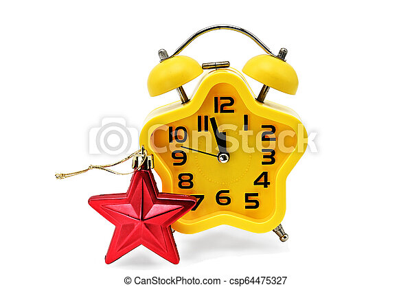 An asterisk Christmas clock shows the remaining time until midnight with a red asterisk, on an white background. Yellow.12,Twelve o'clock - csp64475327