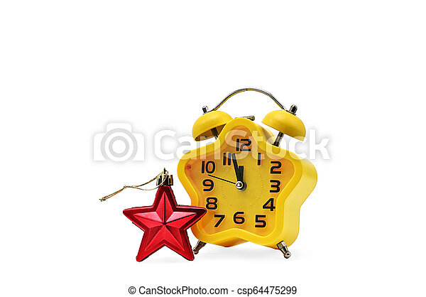 An asterisk Christmas clock shows the remaining time until midnight with a red asterisk, on an white background. Yellow.12,Twelve o'clock - csp64475299