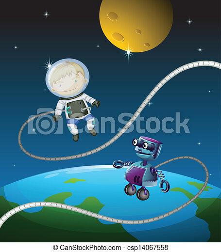 An astronaut and a robot - csp14067558