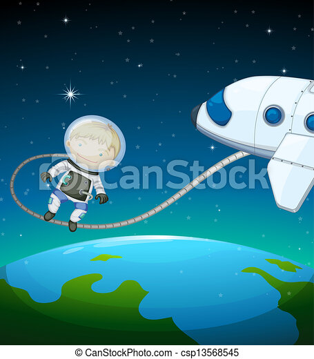 An astronaut in the outer space - csp13568545