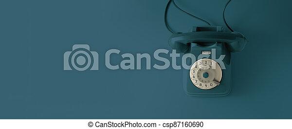 An blue vintage dial telephone. - csp87160690