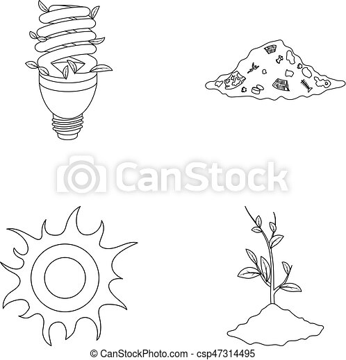 An ecological lamp, the sun, a garbage dump, a sprout from the earth.Bio and ecology set collection icons in outline style vector symbol stock illustration web. - csp47314495