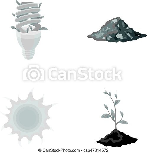An ecological lamp, the sun, a garbage dump, a sprout from the earth.Bio and ecology set collection icons in monochrome style vector symbol stock illustration web. - csp47314572