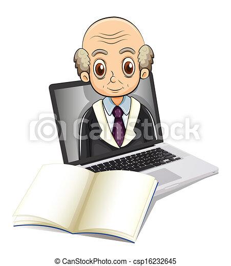 An electronic gadget with a bald old man - csp16232645