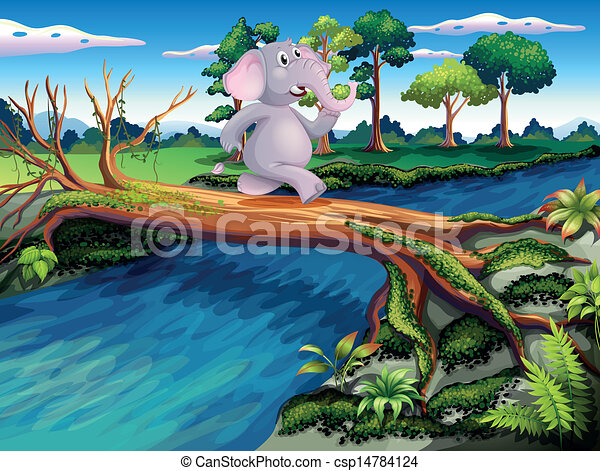 An elephant crossing a tree bridge - csp14784124
