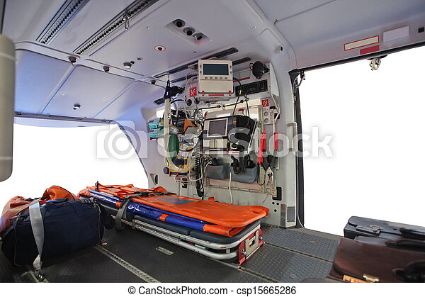 an empty ambulance helicopter - csp15665286