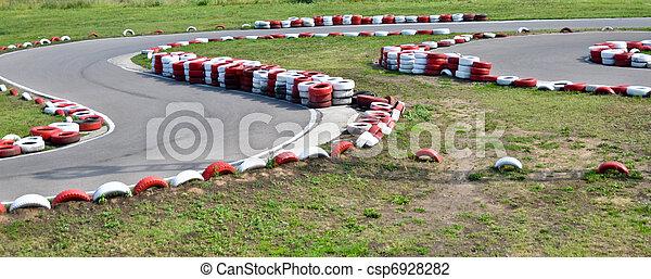 An empty bend on a race car circuit - csp6928282