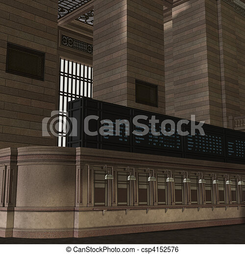 An Empty Central Station. 3D rendering and shadow over white - csp4152576