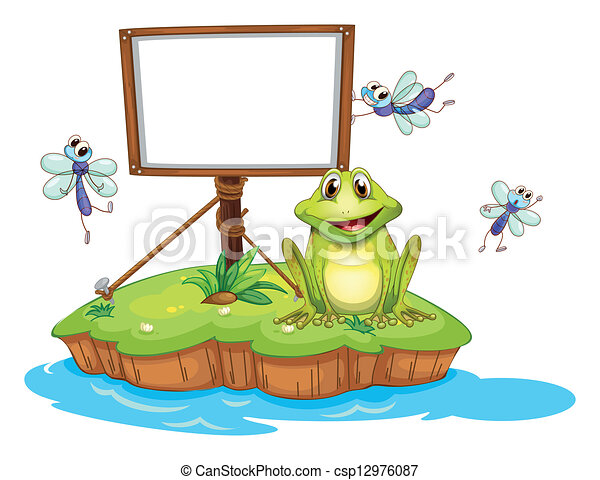 An empty framed signboard with an animal and insects - csp12976087
