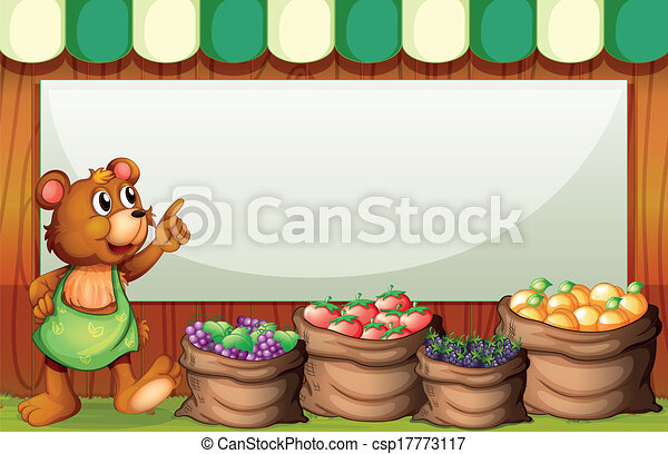 An empty rectangular template with a bear selling fruits - csp17773117