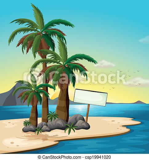 An empty signboard at the beach - csp19941020