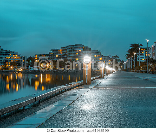 An empty walkway along the river in Sydney - csp61956199