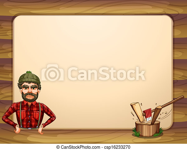 An empty wooden frame template with a lumberjack - csp16233270