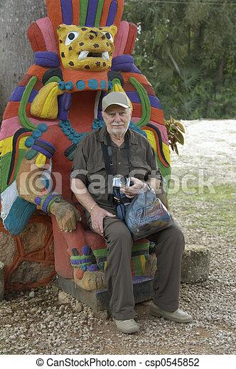 An happy senior tourist - csp0545852