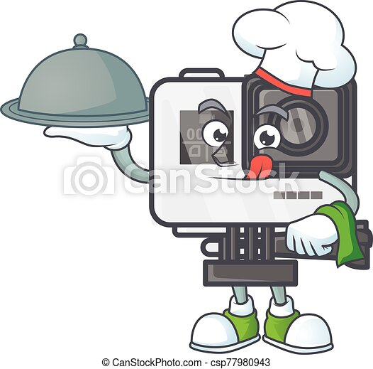 An icon of action camera as a Chef with food on tray ready to serve - csp77980943