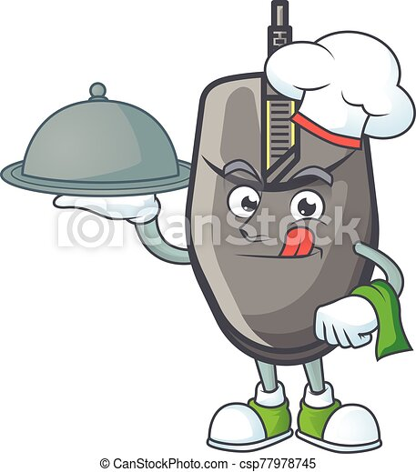 An icon of black mouse as a Chef with food on tray ready to serve - csp77978745