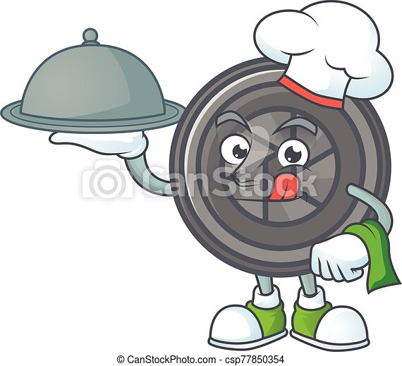 An icon of camera lens as a Chef with food on tray ready to serve - csp77850354
