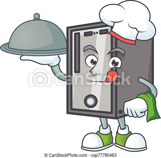 An icon of CPU as a Chef with food on tray ready to serve - csp77780463