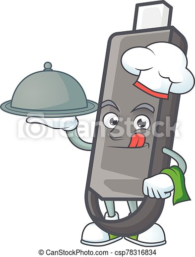 An icon of flashdisk as a Chef with food on tray ready to serve - csp78316834