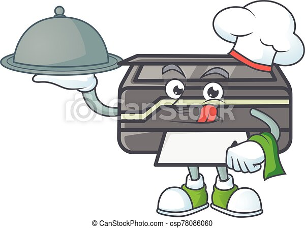 An icon of printer as a Chef with food on tray ready to serve - csp78086060