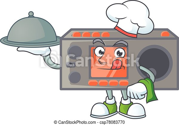 An icon of radio transceiver as a Chef with food on tray ready to serve - csp78083770