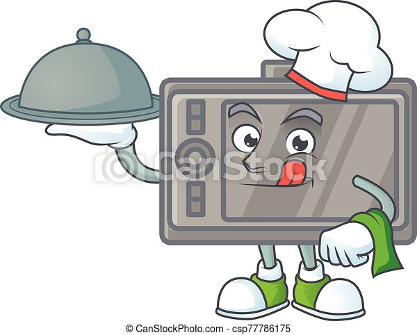 An icon of wacom as a Chef with food on tray ready to serve - csp77786175