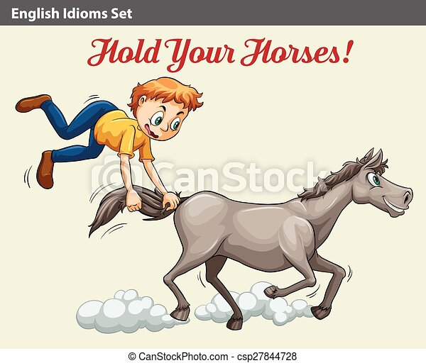 An idiom showing a boy holding the horse - csp27844728