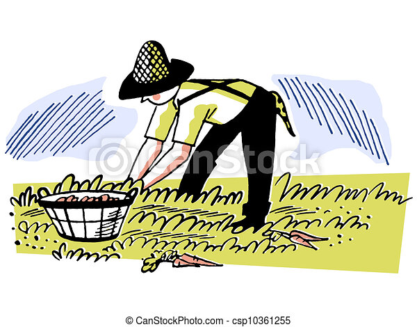An illustration of a man working in the fields - csp10361255