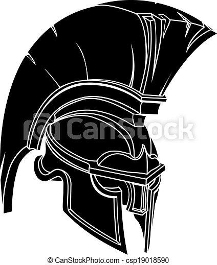 An illustration of a spartan or trojan warrior or gladiator helmet - csp19018590
