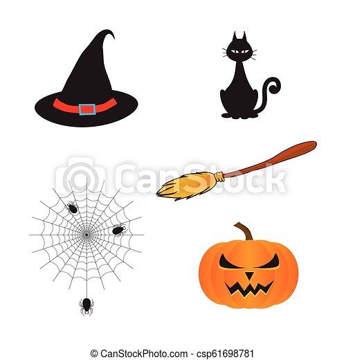 317dc1ad An illustration of cartoon halloween with cat, hat, pumpkin, spider. -  csp61698781