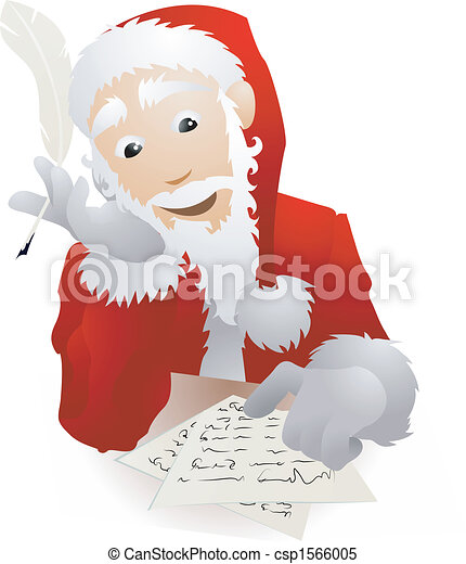 An illustration of Father Christmas or Santa Claus checking his Christmas list or replying to children�s letters  - csp1566005